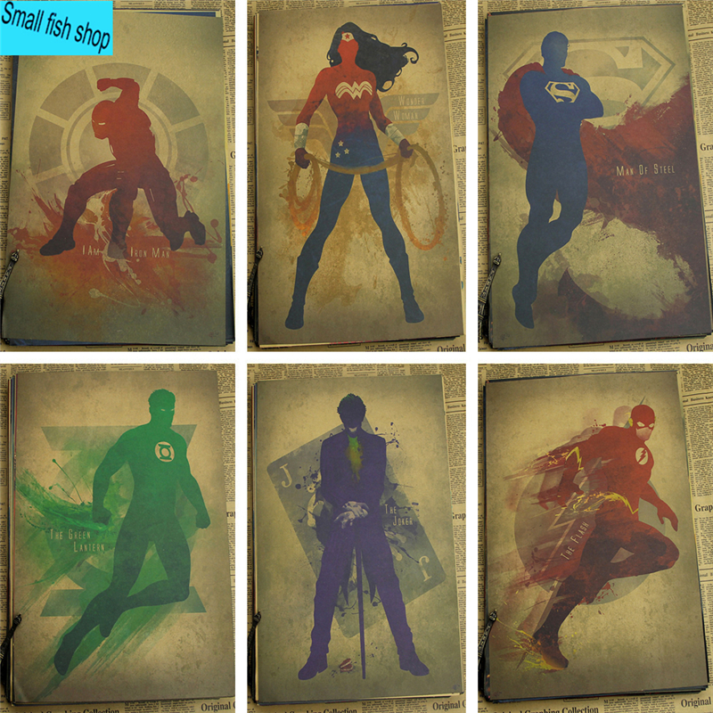 Superhero Movie Chinese Ink Catwoman/Wonder woman Home Furnishing decoration Kraft Movie Poster Drawing core Wall stickers