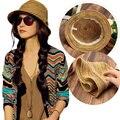 New Fashion  Women Hats Lady Colorful Striped Straw Beach Summer Sun Panama  Foldable Cap