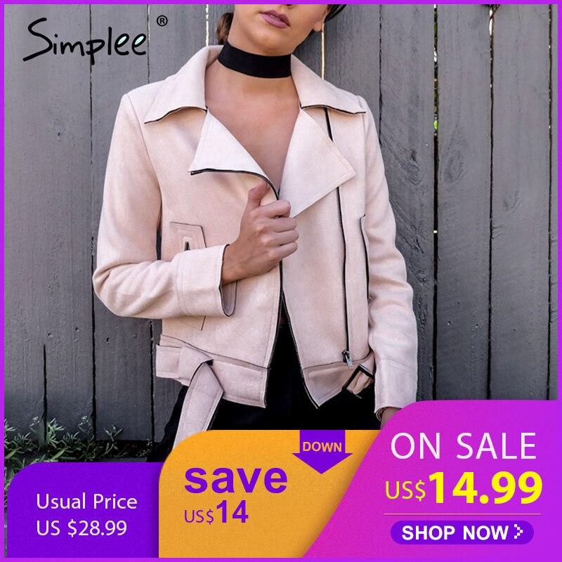Simplee Apparel Zipper basic   suede   jacket coat 2018 motorcycle jacket Women outwear Pink belted short winter jackets