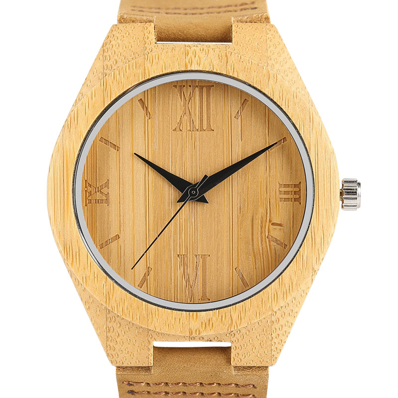 Fashion Mens Natural Wood Watches Roman Numbers Simple Quartz Wristwatch Male Genuine Leather Black Hands Clock Gift 2017