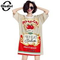 Oladivi בתוספת גודל בגדי נשים אופנה צמרות טוניקות אירופאי גבירותיי מקרית Loose חולצות טי הדפסה ארוכה שמלות 2017 6XL החדש