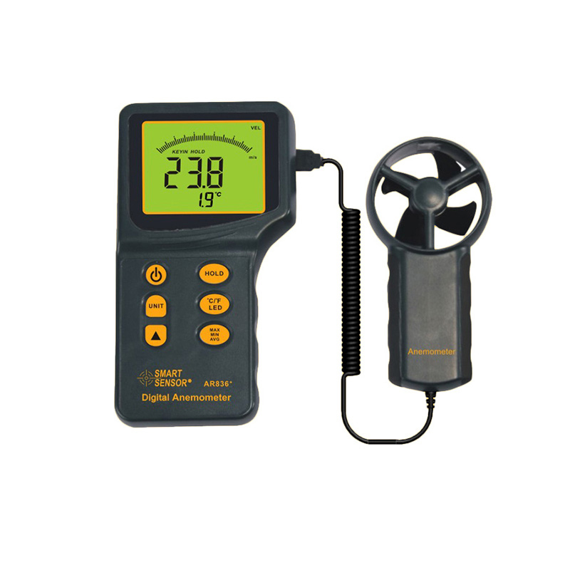 SMART SENSOR AR836+ Digital Thermo-Anemometer Air Flow Wind Speed Anemometer+Temperature Tester digital 3 cup type sensor probe multi function thermo anemometer 80% rh air weather meter wind direction air speed temperature
