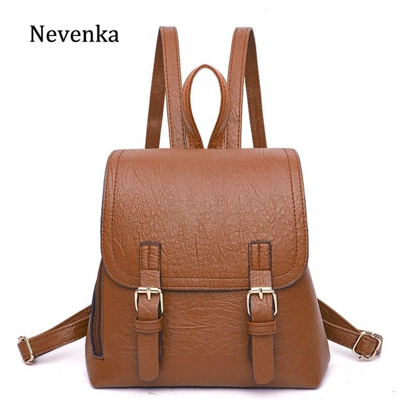 Nevenka Girls Mini Backpack Women Leather Backpacks Female Vintage Backpack Solid School Backpacks for Teenager Girls Bag 2018 цена