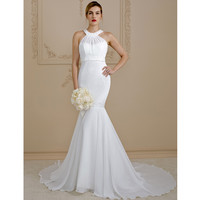 LAN TING BRIDE Mermaid Trumpet Scoop Neck Backless Wedding Dress Crossed Straps Court Train Chiffon Bridal