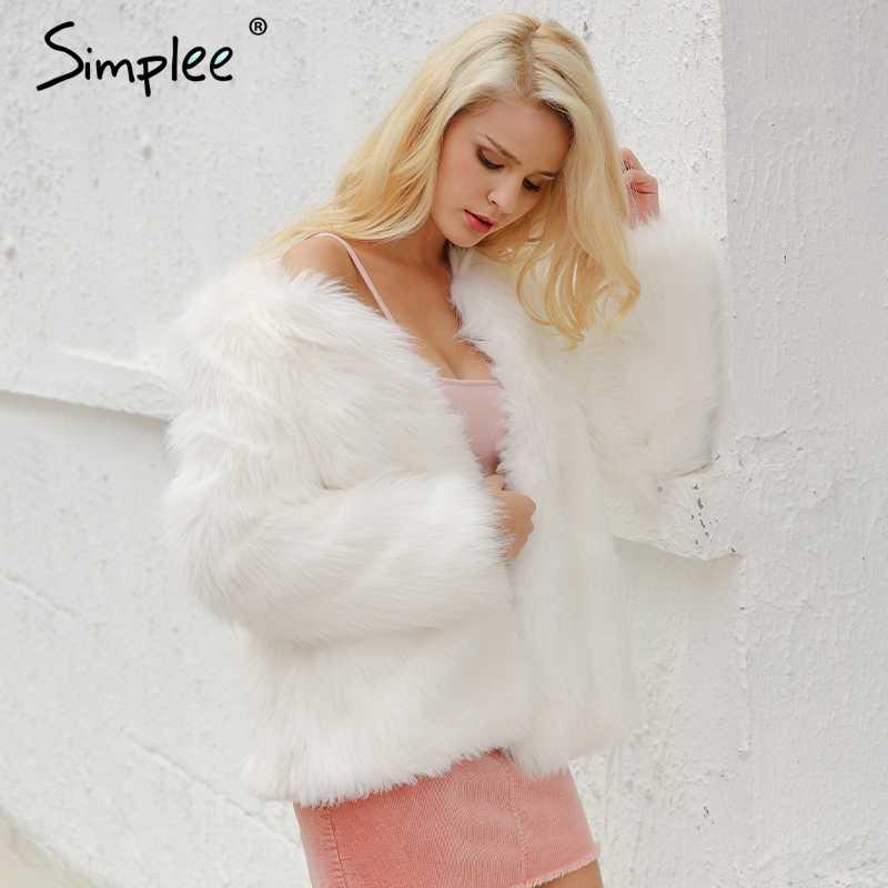 Simplee Повседневное пушистый искусственный Меховые пальто женские Пальто с искусственным мехом женские короткие розовое пальто 2018 зимняя одежда Вечерние цветной мех пальто