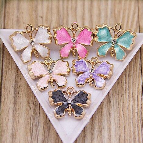 Free Shipping 20PCS Enamel Butterfly Jewelry Bracelet Charms Gold Tone Metal Alloy DIY B ...