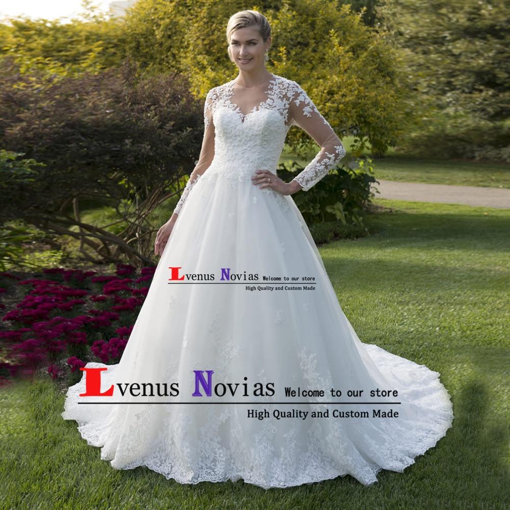 vestidos de noiva 2019 White Beaded Bride Dresses Wedding Gowns Vintage Long Sleeve Wedding Dress Bruiloft vestido de casamento