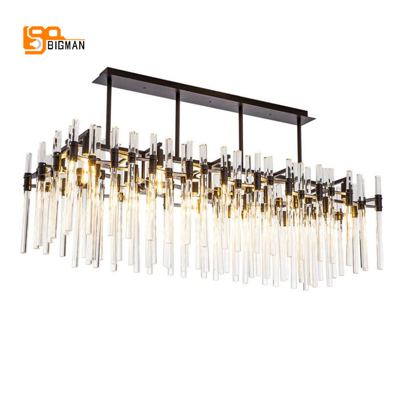 rectangular crystal chandelier modern kronleuchter AC110V 240V lustre home chandeliers hotel lights length 125cm