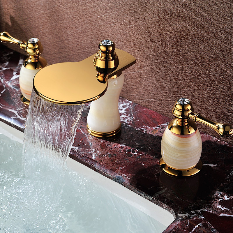 Double handle three holes basin faucet sink mixer tap water faucet bowlder jade tap golden antique mixer with diamond SD-T-002A us free shipping wholesale and retail chrome finish bathrom sink basin faucet mixer tap dusl handle three holes wall mounted