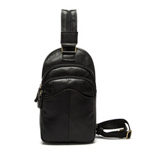 HOT SALE Functional Male Fashion Packsack Trendy Casual Soft Leather Chest Pack For Men Durable Genuine Plain Sling Bag