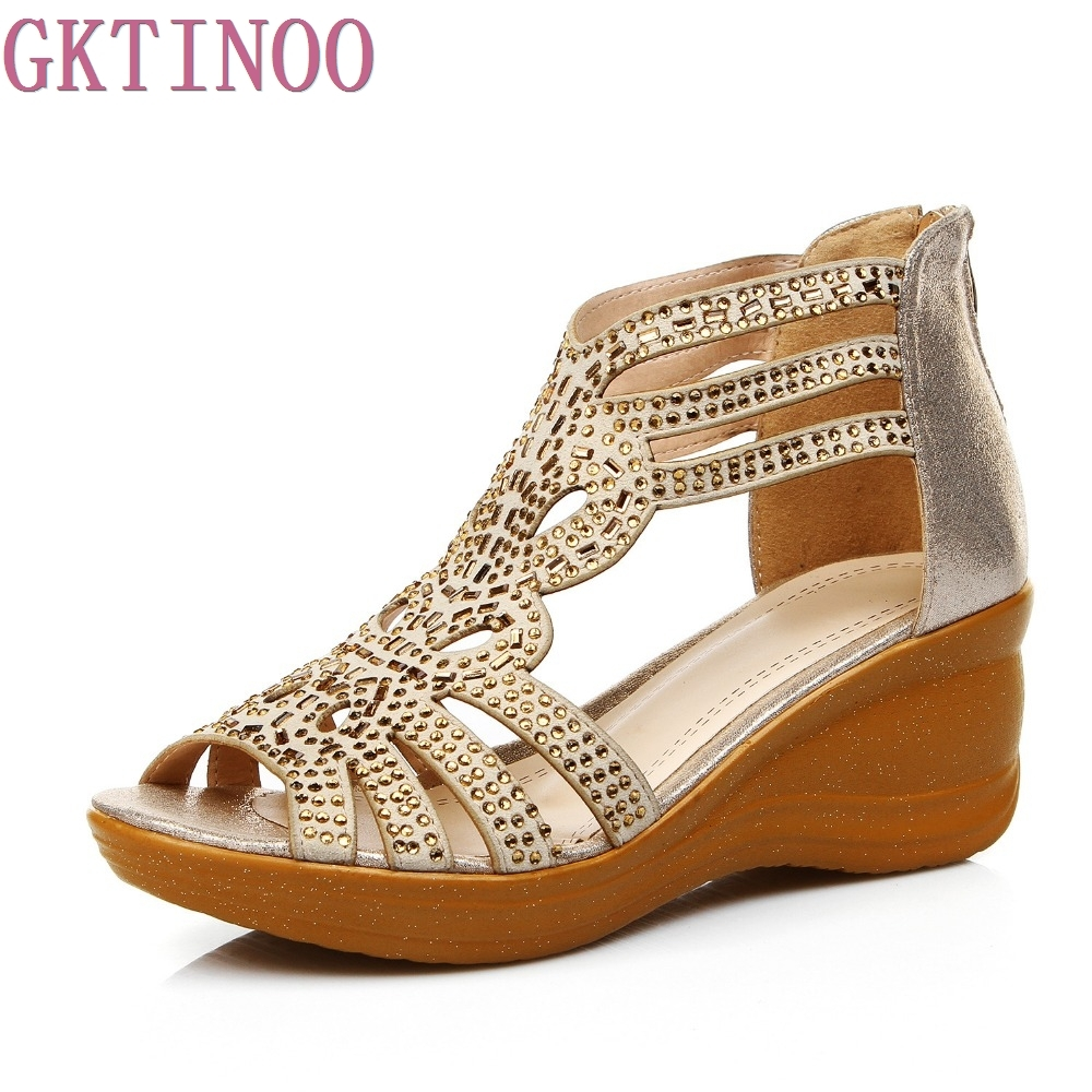 2017 Summer Hollow Out Comfortable Wedges Sandals Women Large Size 41 Female Genuine Leather Open Toe Cowhide Diamond Shoes summer shoes high quality of handmade genuine leather womens shoes open toe sandals cowhide leather comfortable flat sandals