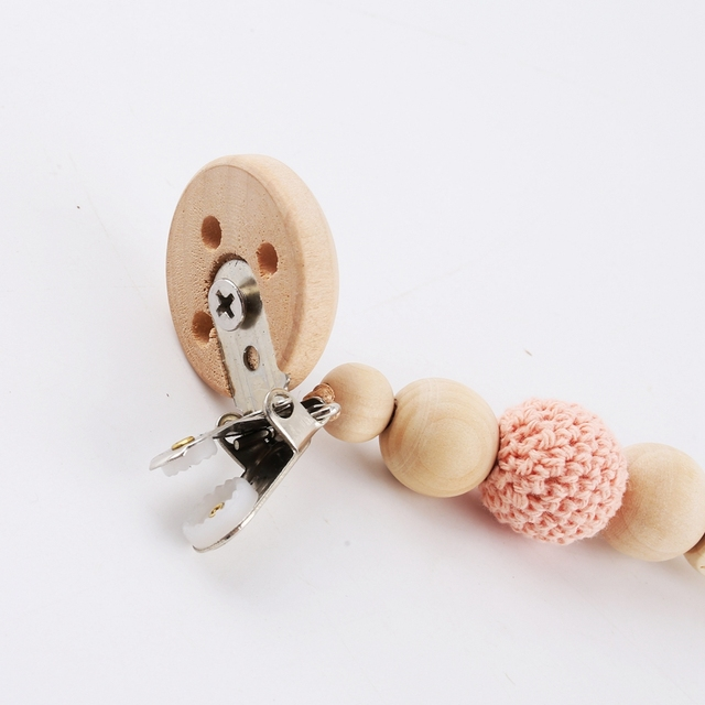 1PC Custom Baby Name Personalised Beads Binky Clip Pacifier Chain Holder Natural Crochet Wood Baby Shower Gift Wooden Teether 3