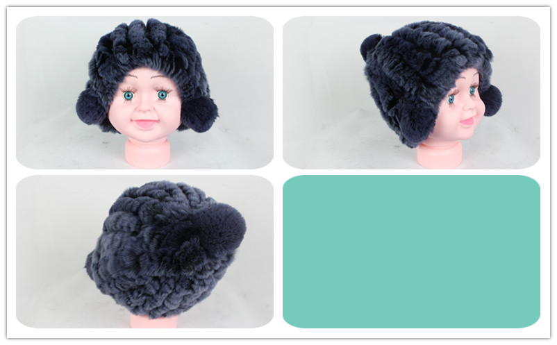 Linhaoshengyue real fur rex rabbit fur Children hat winter warm freeshipping fashion warm 12