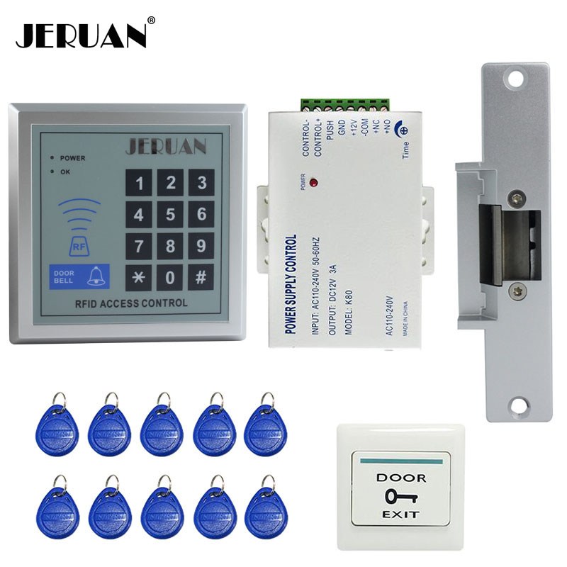 JERUAN -DIY-1 RFID Door Access Control System Kit Set +Strike Door Lock +RFID Keypad + 10 ID card + Exit Button Free Shipping rfid door access control system kit set with electric lock power supply doorbell door exit button 10 keys id card reader keypad