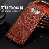 4 Colors Natural Crocodile Head Skin Cover For Samsung Galaxy S8 Plus Genuine Crocodile Leather Phone