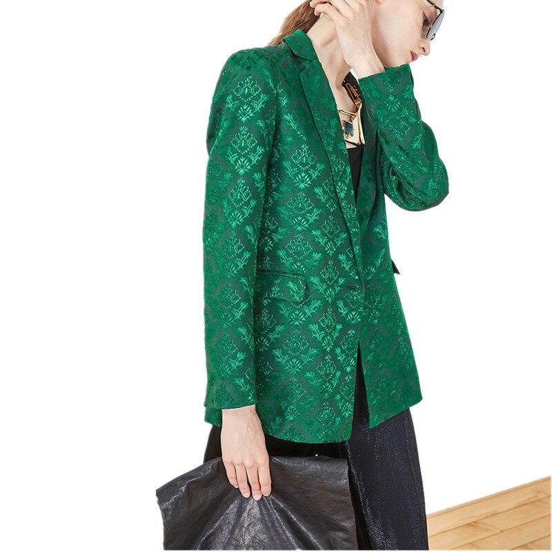 luxury brand blazer Women 2018 autumn new high quality Designer Short Suit Blazer Outerwear Jacket one button green