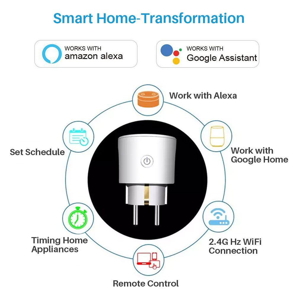 Image 2 - Smart WiFi Plug EU WiFi Socket 16A With Timing APP Control,Compatible Alexa Google Home Mini IFTTT Voice Intelligent Control-in Smart Power Socket Plug from Consumer Electronics