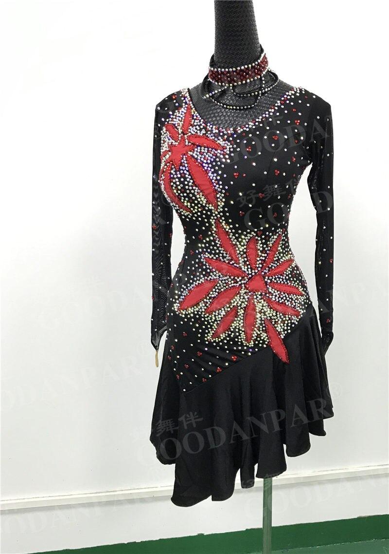 GOODANPAR Latin Dance Dress Women Hot Fire Latin Dresses Standard Long Sleeve Stage Dance Wear Salsa Cha Cha Costume Customized