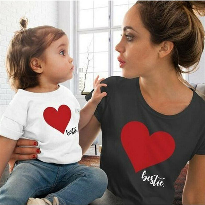 Mommy and Me Clothes Mother Daughter Matching Family Outfits T-shirt Women Kids Baby Girls Soft Cotton Heart Print Tops Blouse