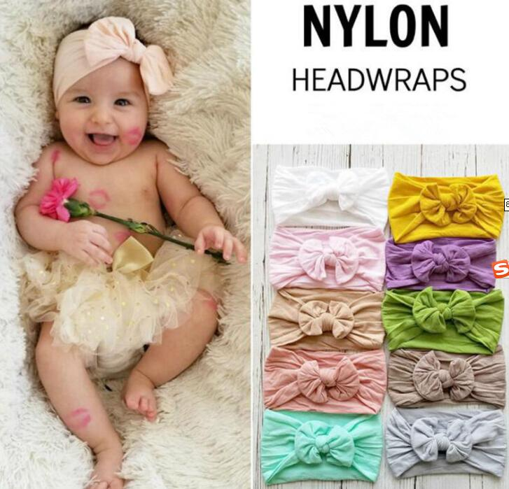 Top Selling Newborn Kids Handmade Nylon Headbands,Knotted Hair Bow Headband,Children Girls Headwear Hair Accessories 30pc/lot