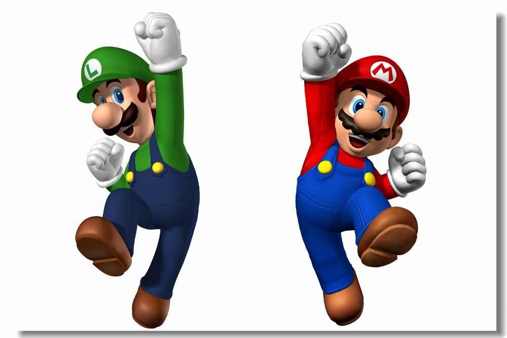 Pintura Da Parede Da Lona Personalizada Super Mario Brothers