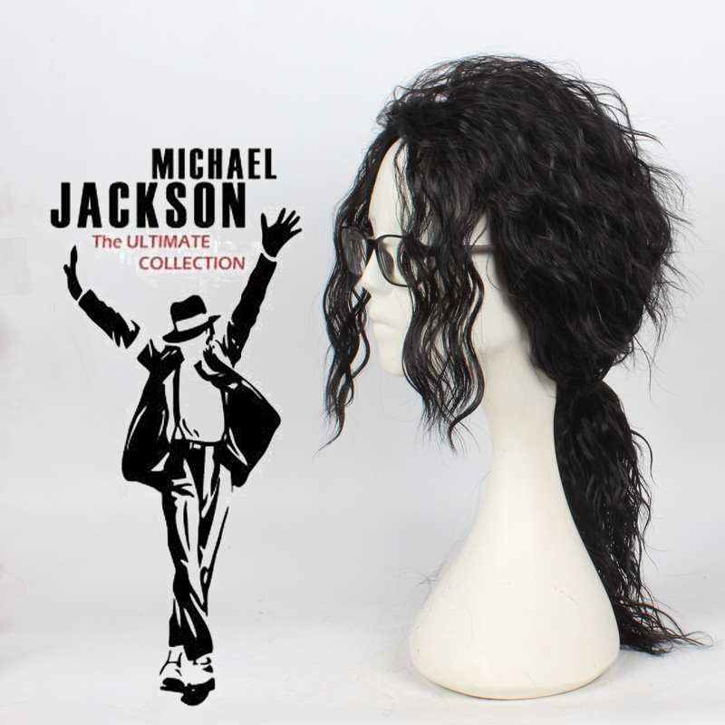Michael Jackson Cosplay Wig MJ Long Black Curly Wig Hair Headwear Halloween Cosplay Costume Accessories