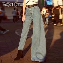 TWOTWINSTYLE летние нерегулярные джинсовые расклешенные брюки для женщин с высокой талией узкие джинсы женская модная одежда уличная одежда Новинка