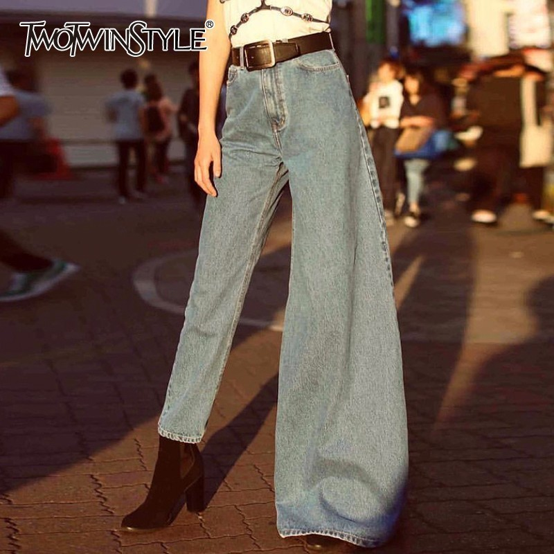 TWOTWINSTYLE Summer Irregular Denim Flare Pants For Women High Waist Slim Jeans Female Fashion Clothes Streetwear 2019 New