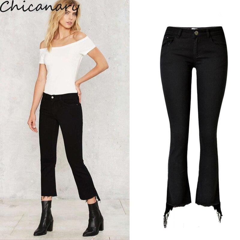 Women s Fashion Black Stretchy Flare Denim Pants Slim Fit Irregular Side Tassel Jeans Pants Plus
