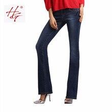 W03 HG бренд женщин flare джинсы ретро стиль белл нижний тощий джинсы женские темно-синие твердые широкую ногу джинсовые брюки девушка(China (Mainland))