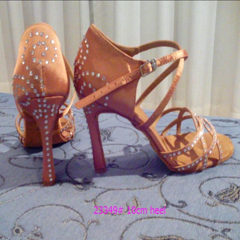 Evkoo Танцы 8,5 см пикантные туфли на высоком каблуке женщина атлас черный и коричневый Цвет Diamond Туфли для латинских танцев Zapatos De Baile Латина ...