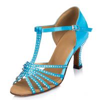 Rhinestone Satin Women Ballroom Latin   Dance     Shoes   Salsa Sandals High-heeled 7.5cm Female Modern Tango   Dance     Shoes   1868