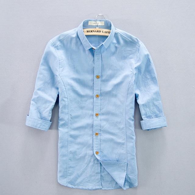 2c209de5d65 2019 Casual Men Linen Shirt Three Quarter Sleeve Turn-down Collar Slim Fit  Mens Cotton Linen Clothing Soft Hawaiian Beach Shirt