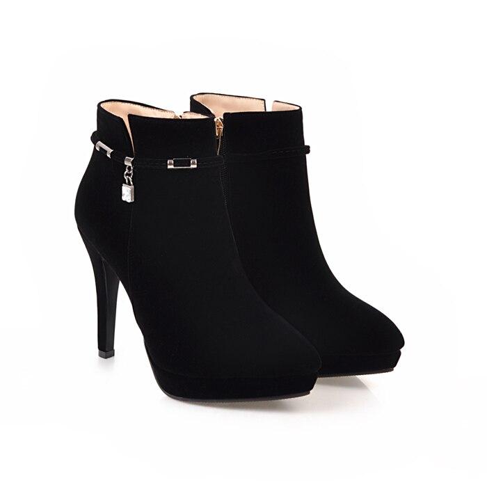 77ed1a372bcf Dropwow Meotina Women Winter Boots High Heel Ankle Boots Zip ...