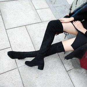 Image 3 - Zwarte Elastische Flock Slim Fit Over De Knie Laarzen Vrouwen 2020 Herfst Winter Dames Hoge Hak Warm Bont Pluche Lange dij Hoge Botas