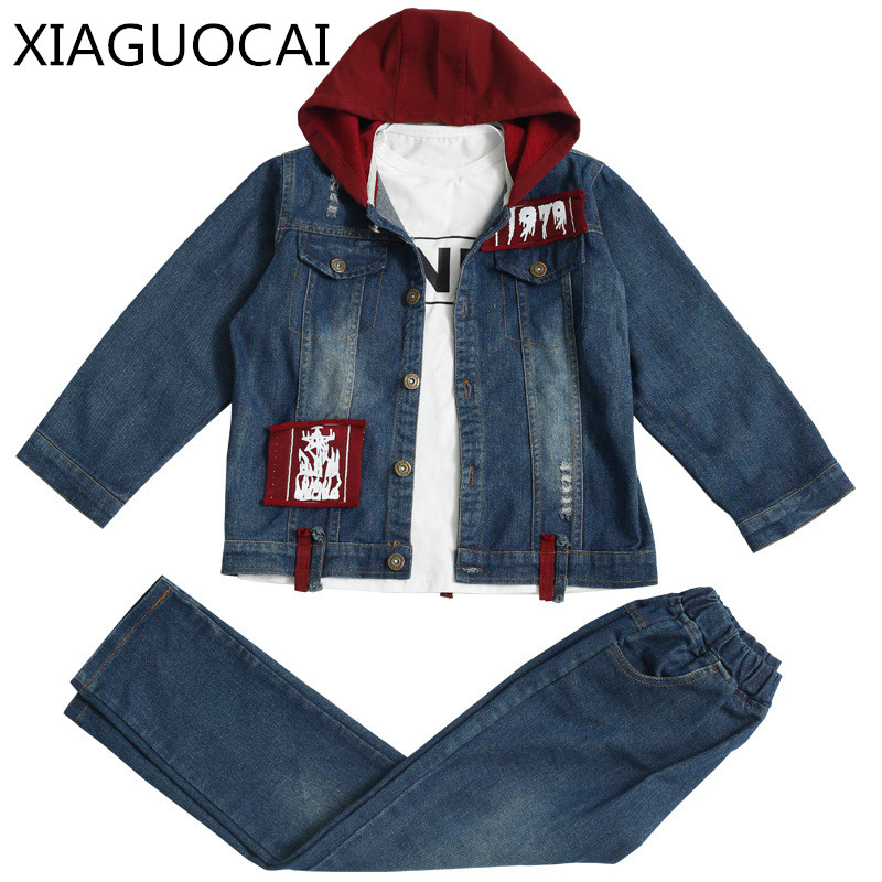 XiaGuoCai Boys baby sets Denim jacket coat + Denim long pants sets Spring&Autumn Hooded children clothing Buckle fashion k76 35 sokotoo men s colored painted snake 3d print jeans fashion black slim stretch denim pants