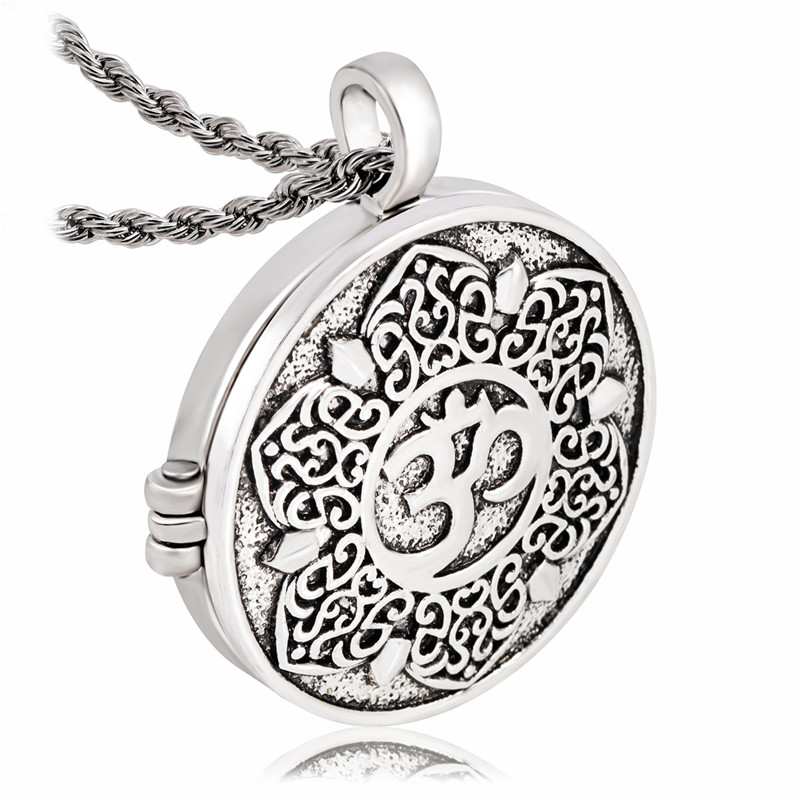 EZEI Open Filigree Lotus Flower Om Ohm Aum Symbol Photo Box Pendant Necklace