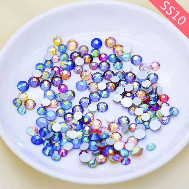 ee09de624f US $1.49 |144/1440p ss10 Color AB Round faceted crystal glass glittler  stone Flatback Non hotfix Nail Art rhinestone Scrapbook Decoration-in ...