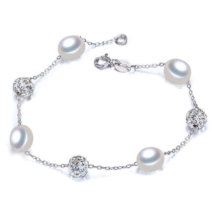2016 Fashion Charm Bracelet Pearl Jewelry Natural Freshwater Pearl 925 Sterling Silver Bracelet Natural Pearl Wedding Gift