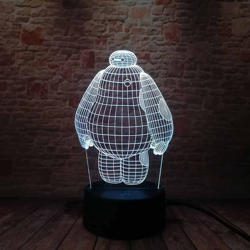 Luminoso Modelo de Robô Baymax 3D Ilusão LED NightLight Luminosa Mesa de Toque Colorida Flash de Luz De Fadas Figuras de Ação & Toy
