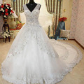 Custom Made 2015 Luxurious Princess V-Neck Wedding Dress with Crystal Beading Bridal Gown Vestido De Noiva Wedding Gowns