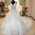 Por Encargo de 2015 de la Princesa de Lujo V-cuello Del Vestido de Boda con Crystal Rebordear Vestido de Novia Vestido De Noiva Vestidos de Novia