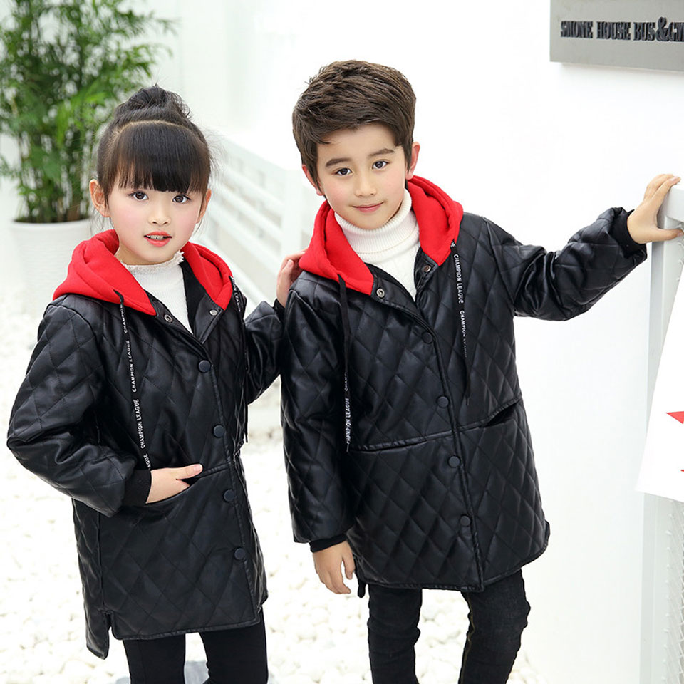 Teenager 2-14Yrs Baby Boys Leather Jacket Boys Fashion Children Outerwear Kids Girls Coats Spring Leather Fur Jackets 2018 New цена 2017