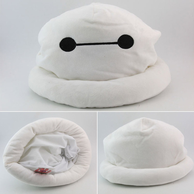 1 Piece Cute Big Hero 6 Baymax Hat Cartoon Soft Winter Plush Cap Beanie Cosplay Accessories Gift Toy White Color