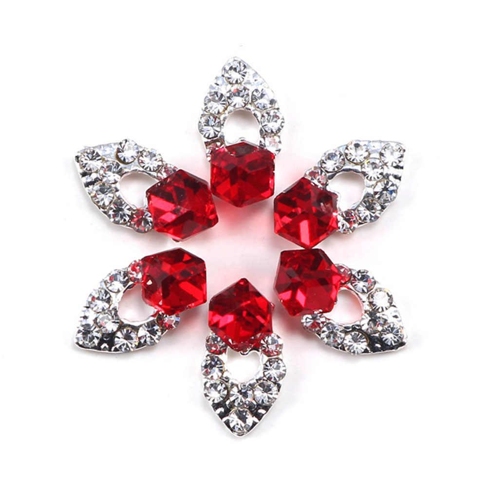 3D charmant strass Nail Art rouge cristal alliage ongle décor bricolage décoration carré Gem Nail Art autocollants manucure outil