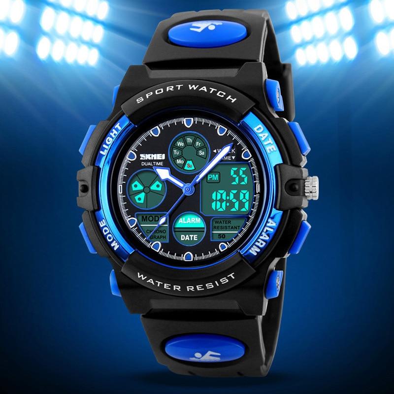 Children's Watches Sport Military Fashion Kids Digital Quartz LED Watch For Girls Boys Waterproof Cartoon Wristwatch SKMEI 2018