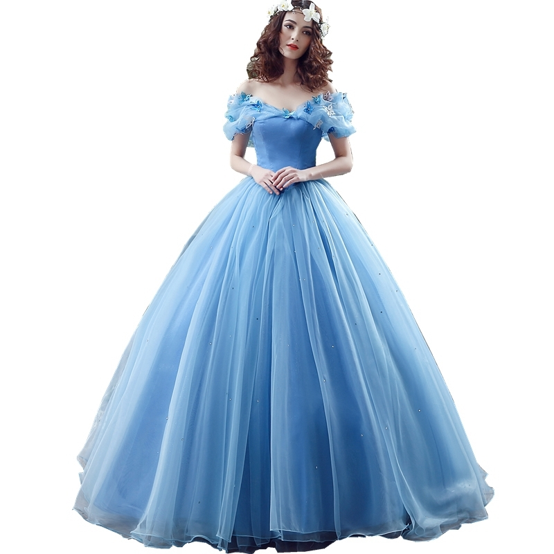 3a2c1c1abdf SHAMAI In Stock Blue Butterfly Cospaly Cinderella Dress Prom Ball Gowns  Organza Quinceanera Dresses Sweet 16 Teens Party Dress