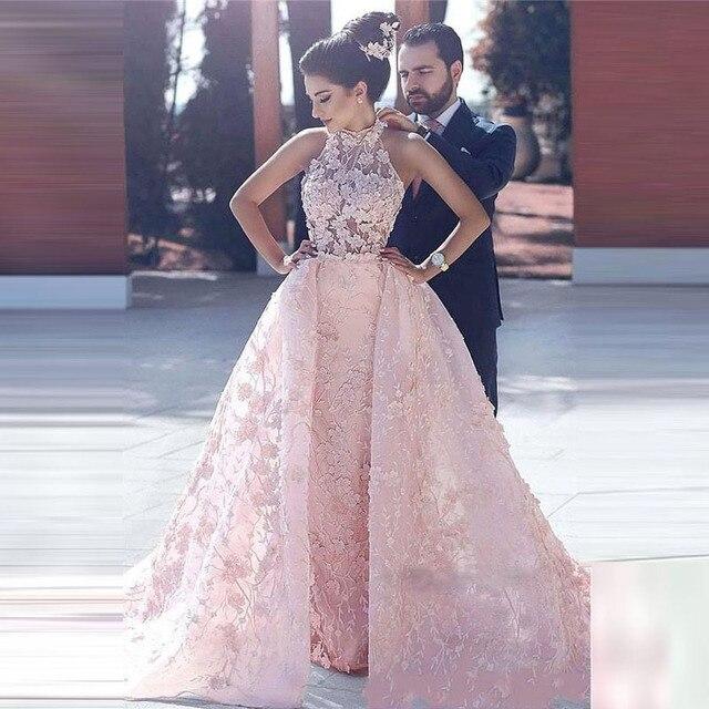 Arabic Pageant Dresses Pale Pink Vestido De Festa Longo Floral ...