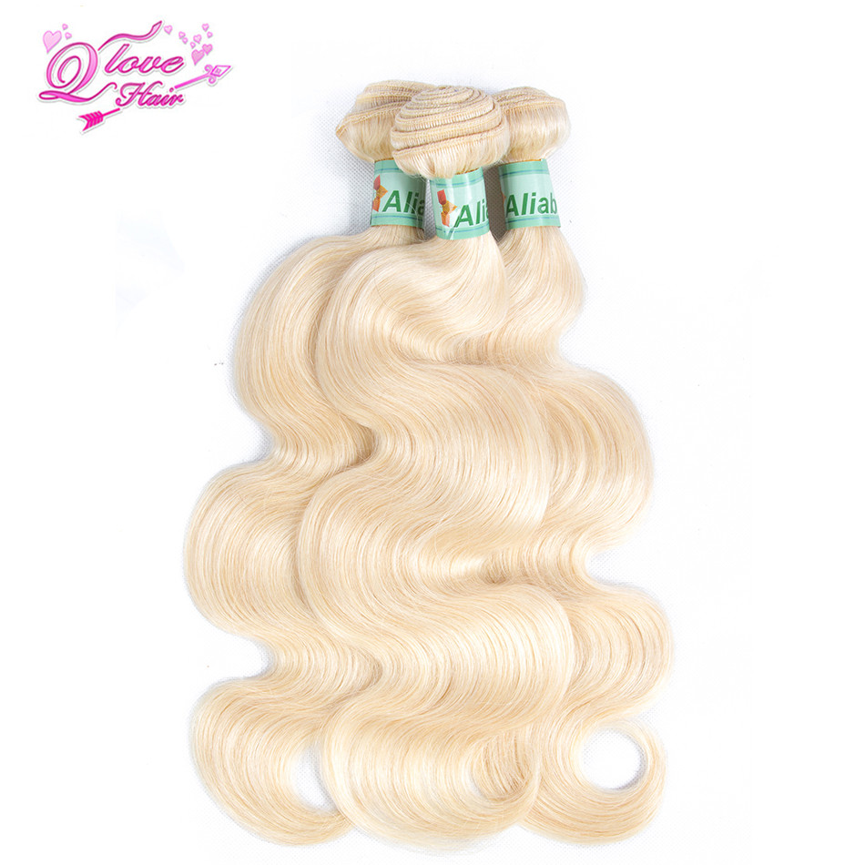 Queen Love Hair Pre-Colored Brazilian Body Wave Human Hair 613 Blondle Non Remy Hair 4 Bundles 12-26inch Hair Extensions