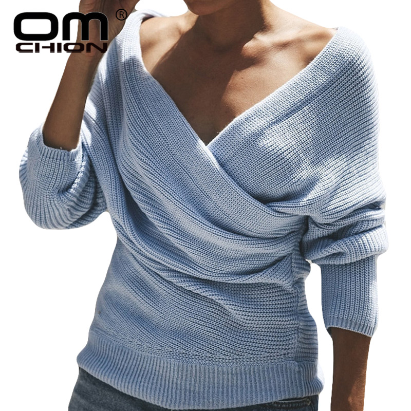96c3bf560d Detail Feedback Questions about OMCHION Sueter Mujer 2018 Winter Deep V Neck  Cross Sexy Sweater Women Casual Slim Knit Pullover Fashion Streetwear Jumper  ...